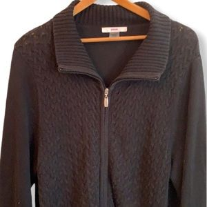 Black knit long sleeve zip sweater with collar XL